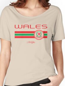 Euro 2016 Football - Wales (Away Yellow) Women's Relaxed Fit T-Shirt