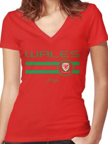 Euro 2016 Football - Wales (Home Red) Women's Fitted V-Neck T-Shirt