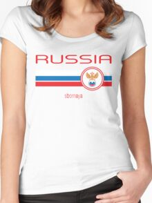 Euro 2016 Football - Russia (Away White) Women's Fitted Scoop T-Shirt