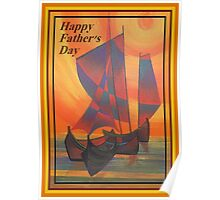 Happy Fathers Day (Red Sails In The Sunset) Greeting Poster
