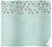 Cute Heart Wavy Background Poster