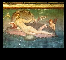 Naked, Woman, Venus on Clamshell, Fresco, Pompeii, Roman by TOM HILL - Designer