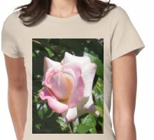 A Pale Pink Rose Bud Womens Fitted T-Shirt