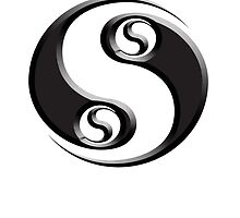 YIN YANG, twist, Chinese, Martial Arts Symbol, Black on White by TOM HILL - Designer