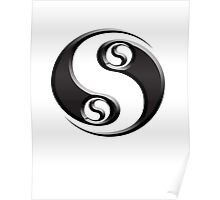 YIN YANG, twist, Chinese, Martial Arts Symbol, Black on White Poster
