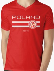 Euro 2016 Football - Poland (Away Red) Mens V-Neck T-Shirt