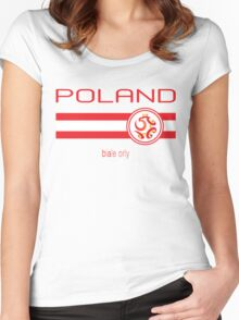 Euro 2016 Football - Poland (Home White) Women's Fitted Scoop T-Shirt
