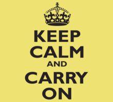 KEEP CALM, & CARRY ON, BE BRITISH, BLIGHTY, UK, WWII, PROPAGANDA, IN BLACK Kids Tee