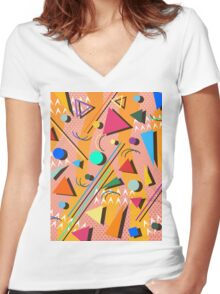 80s pop retro pattern Women's Fitted V-Neck T-Shirt
