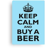 KEEP CALM, BUY A BEER, BE COOL, ON ICE BLUE Canvas Print