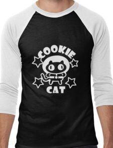Cookie Cat - Black & White w/ text Men's Baseball ¾ T-Shirt