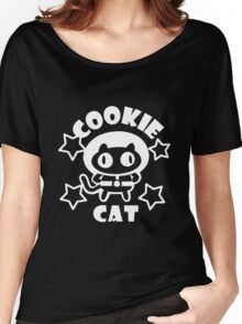 Cookie Cat - Black & White w/ text Women's Relaxed Fit T-Shirt