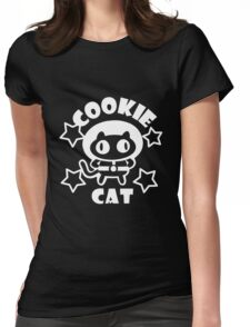 Cookie Cat - Black & White w/ text Womens Fitted T-Shirt