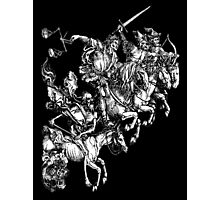 Apocalypse, Durer, Four Horsemen of the Apocalypse, Revenge, Biblical, Prophesy, White on Black Photographic Print