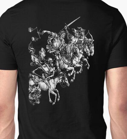 Apocalypse, Durer, Four Horsemen of the Apocalypse, Revenge, Biblical, Prophesy, White on Black Unisex T-Shirt