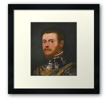 Circle of Jacopo Robusti, called Jacopo Tintoretto PORTRAIT OF A BEARDED MAN, BUST LENGTH, IN ARMOUR Framed Print