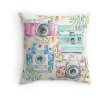 Watercolor Cameras and Flowers - Natalie Kinnear Designs Throw Pillow