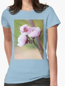 Spring pink cherry blossom with green background Womens Fitted T-Shirt