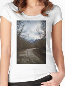 Road with mountain II Women's Fitted Scoop T-Shirt