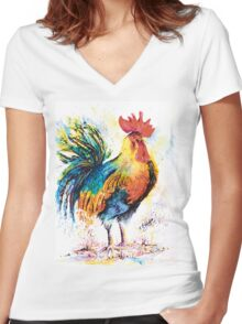Cock-a-Hoop Women's Fitted V-Neck T-Shirt