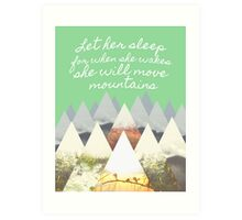 She Moves Mountains - Green Art Print
