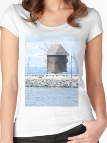 Nesebar, Bulgaria. Landscape with old wooden windmill. Ancient town Nesebar, Bulgaria. Black Sea coast in sunny day Women's Fitted Scoop T-Shirt