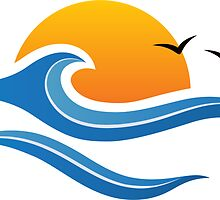 Sun, wave and birds sticker by MheaDesign