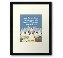 He Moves Mountains - Blue Framed Print