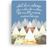 He Moves Mountains - Blue Canvas Print
