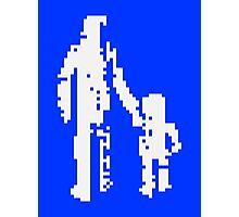 1 bit pixel pedestrians (white) Photographic Print