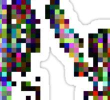 8 bit pixel pedestrians (color on black) Sticker