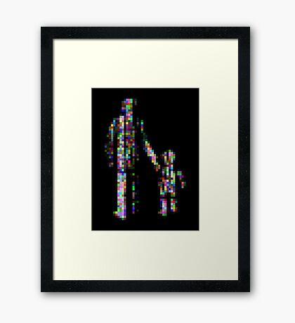 8 bit pixel pedestrians (color on black) Framed Print