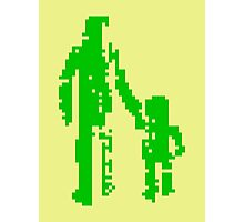 1 bit pixel pedestrians (green) Photographic Print