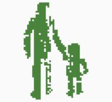 1 bit pixel pedestrians (green) One Piece - Short Sleeve