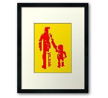 1 bit pixel pedestrians (red) Framed Print