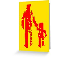1 bit pixel pedestrians (red) Greeting Card
