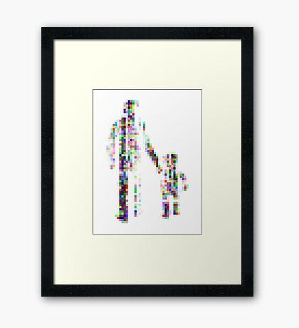 8 bit pixel pedestrians (color on white) Framed Print