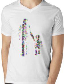 8 bit pixel pedestrians (color on white) Mens V-Neck T-Shirt