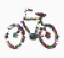 8 bit pixel bike (color on white) Kids Tee