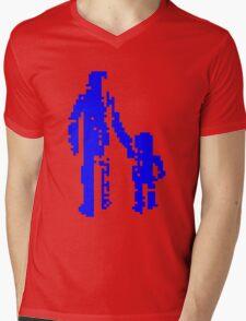 1 bit pixel pedestrians (blue) Mens V-Neck T-Shirt