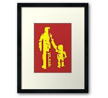 1 bit pixel pedestrians (yellow) Framed Print
