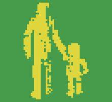 1 bit pixel pedestrians (yellow) One Piece - Short Sleeve