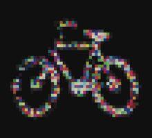 8 bit pixel bike (color on black) Kids Tee
