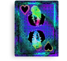 Double Neon King of Hearts Canvas Print