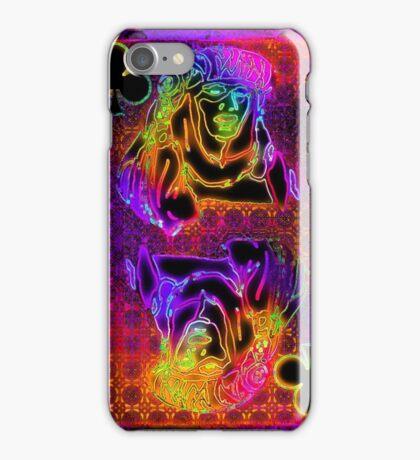 Doube Neon Queen of Clubs iPhone Case/Skin