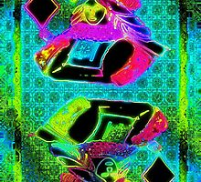 Double Neon Queen of Diamonds by ronmockjunior