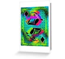 Double Neon Queen of Diamonds Greeting Card