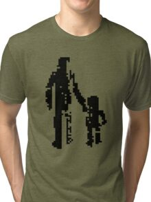 1 bit pixel pedestrians (black) Tri-blend T-Shirt