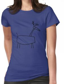 Poro the Reindeer (outline black) Womens Fitted T-Shirt