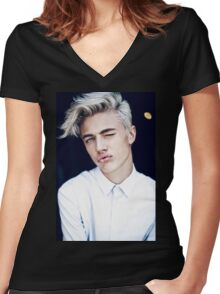 Lucky Blue Smith - Kiss (Color) Women's Fitted V-Neck T-Shirt